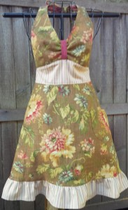Olive and rose floral with striped waist and ruffle