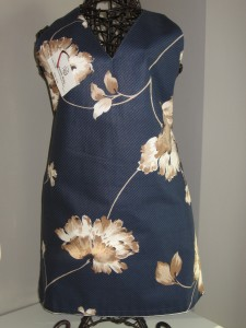 Navy lotus print with beige tiny check reverse